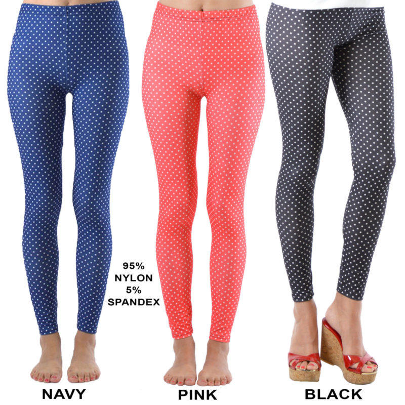 d63f832e5c9b1 Dinamit Jeans Women's Fashion Seamless White Polka Dot Footless Leggings